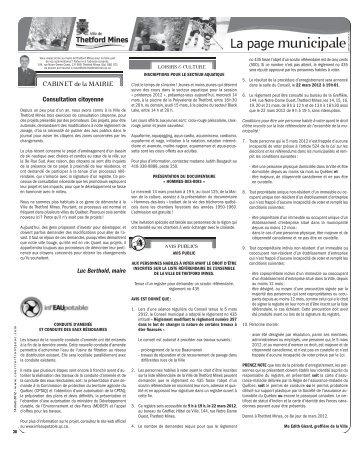 Consultation citoyenne - Ville de Thetford Mines