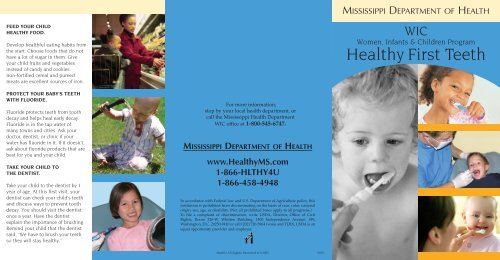 WIC and Healthy First Teeth - Mississippi State Department of Health