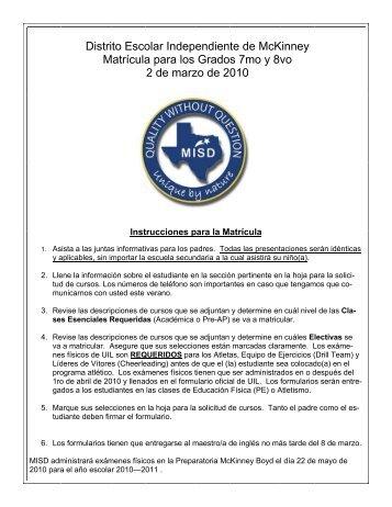 Distrito Escolar Independiente de McKinney Matrícula para los ...