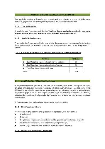 ANEXO III - CRITÉRIOS DE AVALIAÇÃO DAS LICITANTES ... - Pnud