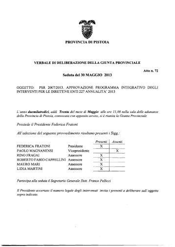 PROVINCIA DI PISTOIA Seduta del 30 MAGGIO 2013 - Utgpistoia.it