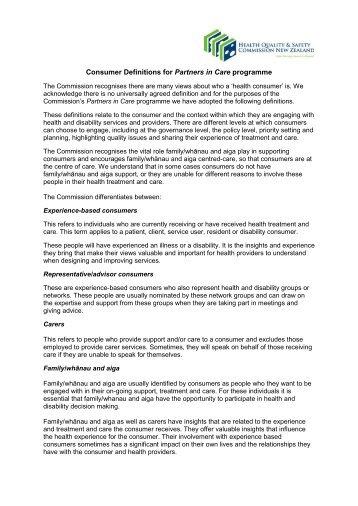 Final consumer definitions 23 August 12 - Hqsc.govt.nz
