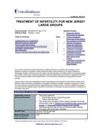 treatment of infertility for new jersey large groups - Oxford Health Plans