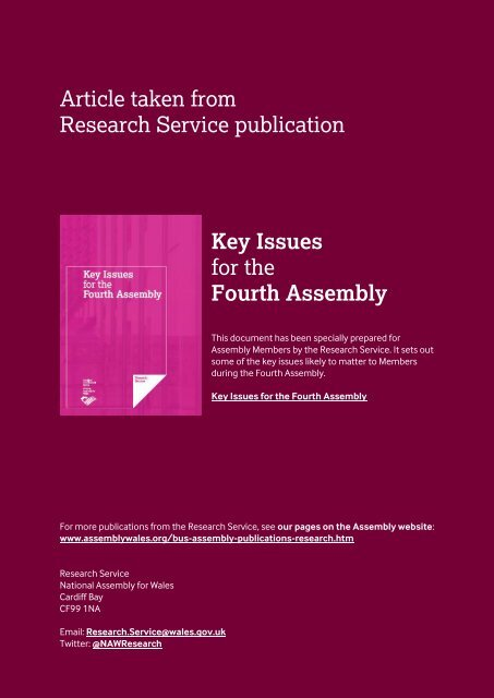 The state of welfare - National Assembly for Wales
