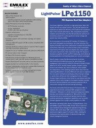 Emulex LPe1150: Datasheet - Reliant Technology
