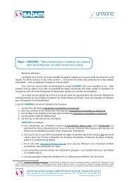 Objet : UNISONO - Rémunération pour l'utilisation de ... - Sabam