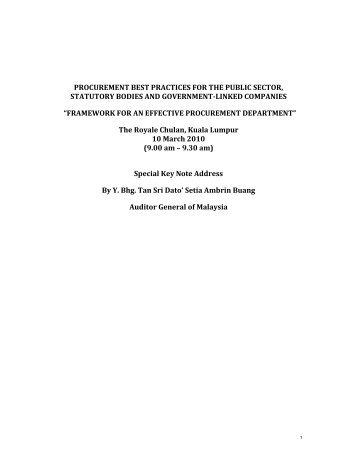 procurement best practices for the public sector, statutory bodies ...