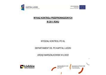 BIP Wykaz kontroli PO KL 2011 rok - Biuletyn Informacji Publicznej ...