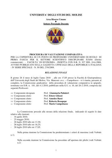 n. 1 posto di professore ordinario - SSD IUS/04 - giudizi