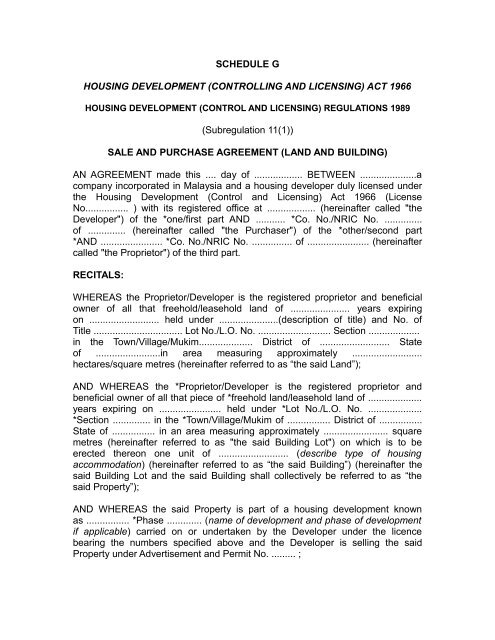 sale and purchase agreement (land and building) - Ministry of ...