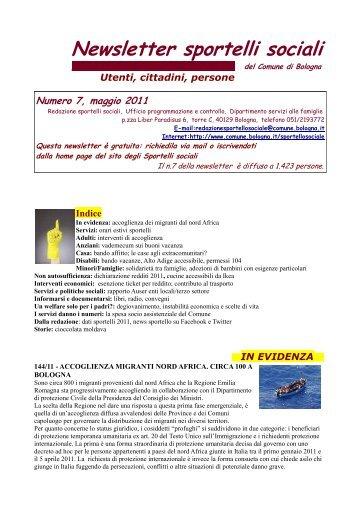 Newsletter sportello sociale n°7 (maggio 2011) - Comune di Bologna