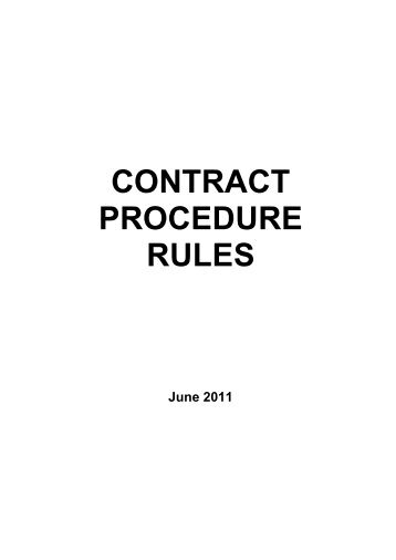 Contract Procedure Rules - Bassetlaw District Council