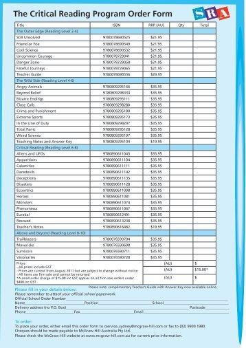 The Critical Reading Program Order Form - McGraw-Hill Australia