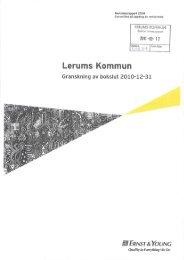 Granskning av bokslut 2010-12-31 - Lerums Kommun
