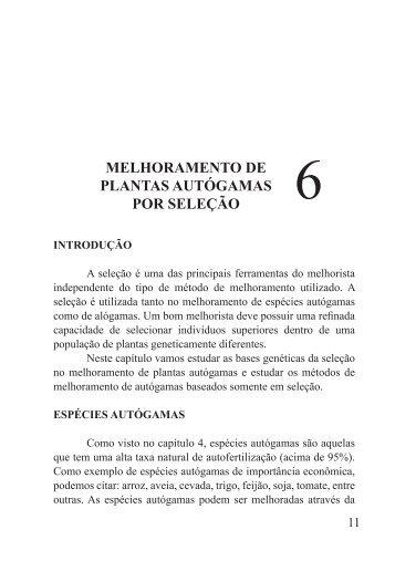 MELHORAMENTO DE PLANTAS AUTÓGAMAS POR SELEÇÃO