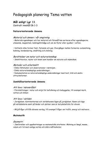 Pedagogisk planering Tema vatten