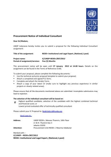 Procurement Notice of Individual Consultant - UNDP
