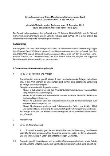 Verwaltungsvorschriften zur GemHVO-Doppik und GemKVO-Doppik