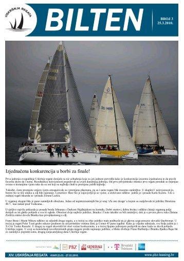 Treći bilten - Uskršnja regata