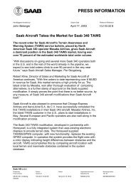 PRESS INFORMATION - Saab Aircraft Leasing