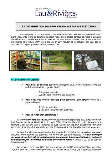LA CONTAMINATION DES EAUX BRETONNES PAR LES ...