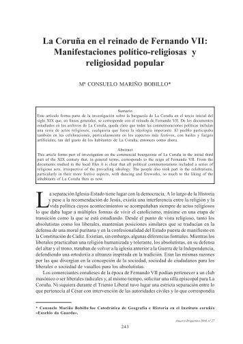 La Coruña en el reinado de Fernando VII - Anuario Brigantino