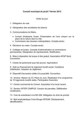 Conseil municipal du jeudi 7 février 2013 Ordre du jour 1 ... - Amiens