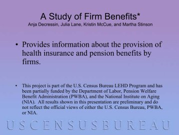 A study of firm benefits - U.S. Census Bureau