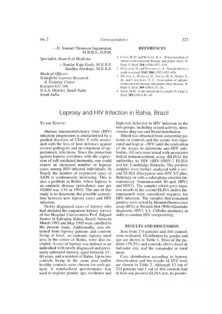 Leprosy and HIV Infection in Bahia, Brazil