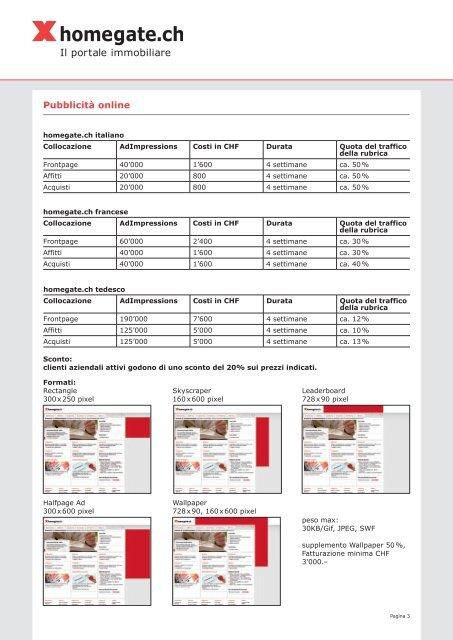 Listino prezzi per clienti aziendali - Myhomegate.ch