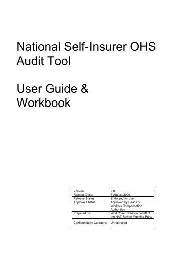 National Self-Insurer OHS Audit Tool User Guide & Workbook