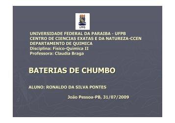 Baterias de Chumbo - Ronaldo S. Pontes - Quimica.ufpb.br