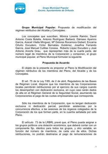 Grupo Municipal Popular: Propuesta de modificación ... - laverdad.es