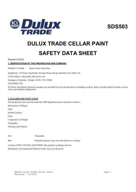 Download PDF safety datasheet SDS503 for Dulux Trade Cellar Paint