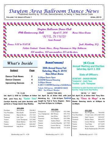14 04 April 2010 Newsletter - Ballroom Dance Dayton