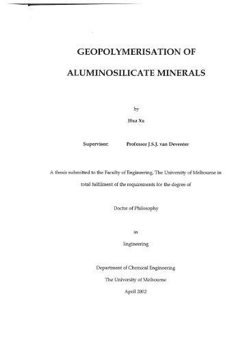 GEOPOLYMERISATION OF ALUMINOSILICATE MINERALS
