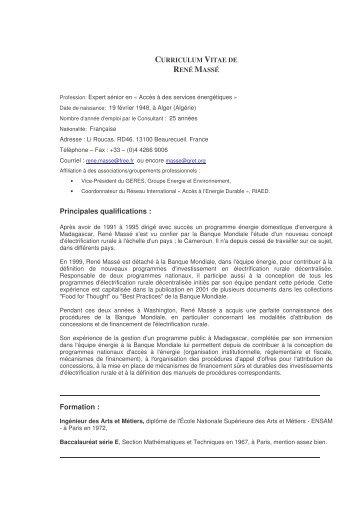 Curriculum Vitae de René Massé - RIAED
