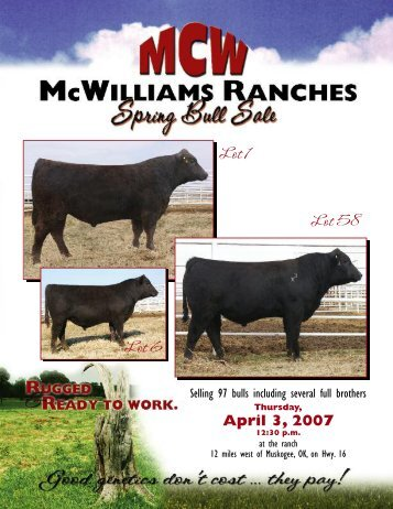 mcwilliams ranches spring bull sale - Angus Journal
