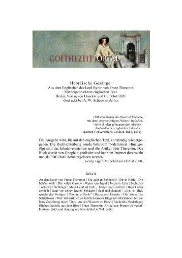 Hebräische Gesänge - Das Goethezeitportal