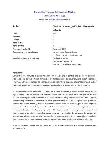 Técnicas de Investigación Psicologia en la Industria - Facultad de ...