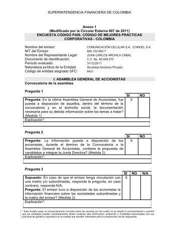 CUESTIONARIO CÓDIGO PAÍS – COLOMBIA - Comcel