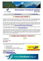 Spring newsletter - Destination Fiordland