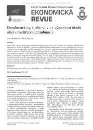 Benchmarking a jeho vliv na výkonnost úřadů obcí s rozšířenou ...