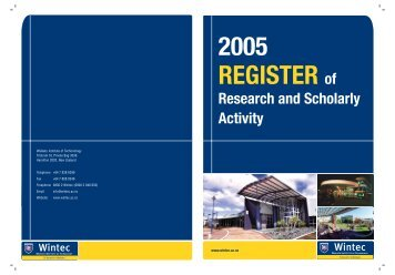 Wintec Register of Research and Scholarly Activity 2005