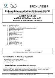 Einbauanleitung zu Elektro-Einbausatz 736746 MAZDA 2 ab 04/03 ...