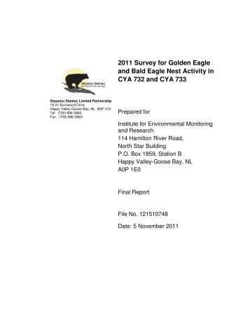 2011 Survey for Golden Eagle and Bald Eagle Nest Activity in CYA ...
