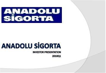 As of 31.03.2010 - Anadolu Sigorta