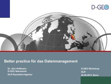 Better practice für das Datenmanagement - D-GEO