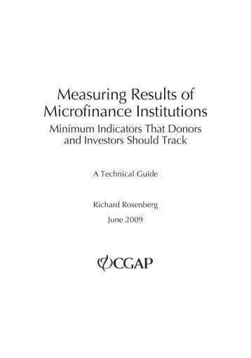 Measuring Results of Microfinance Institutions