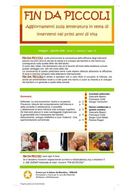 Fin Da Piccoli Anno 1 N 2 Pdf Centro Per La Salute Del Bambino